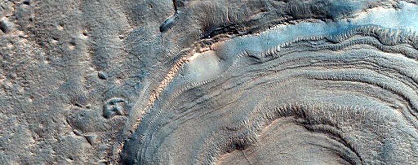Layered Mound in Crater in Deuteronilus Mensae