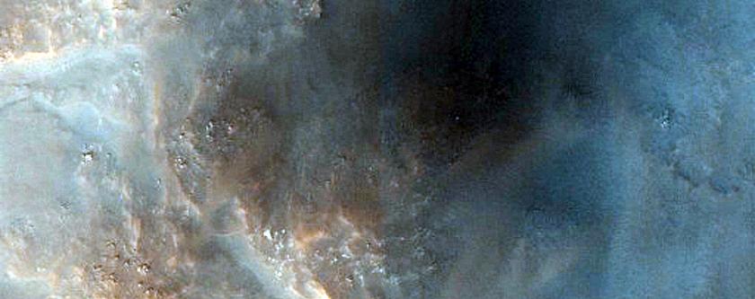 Central Peak Pit of 22-Kilometer Diameter Crater in Vastitas Borealis