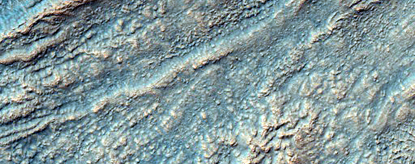 Gully System in Thaumasia Fossae Crater