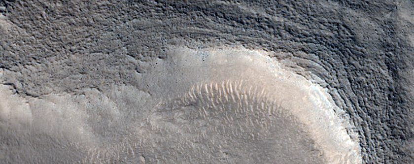 Dipping Layers in Depression in Ismenius Fossae