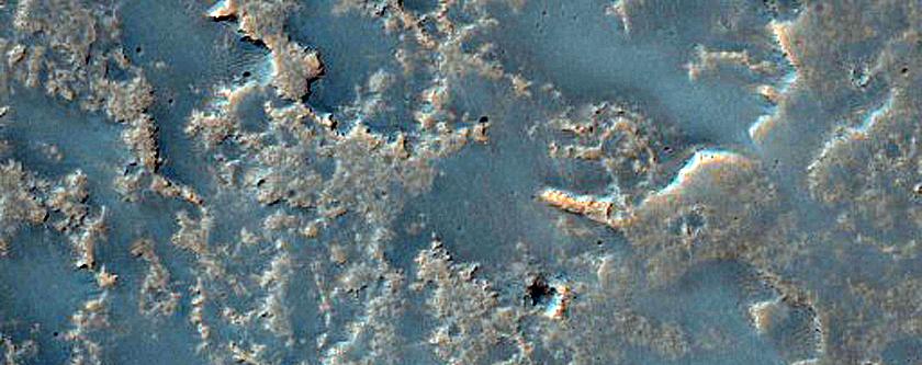 Lava Flows Embaying Impact Crater