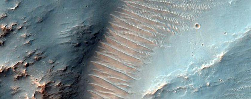 Valleys in Crater Northeast of Argyre Planitia