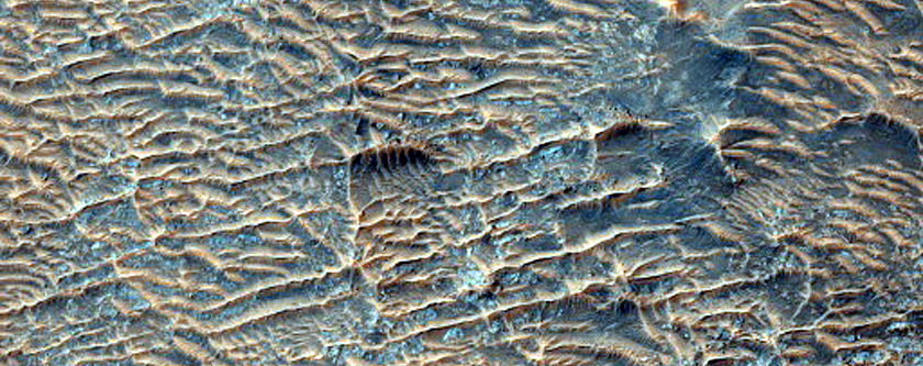 Landforms North of Huygens Crater