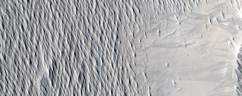 Ridges Near Crater in Eumenides Dorsum