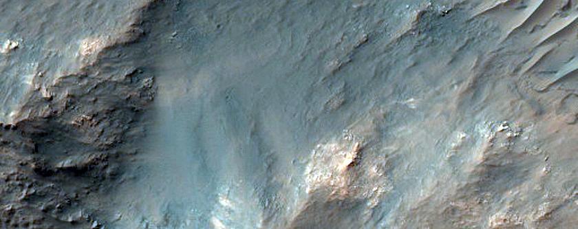 Central Peak of 43-Kilometer Diameter Crater in Terra Sabaea