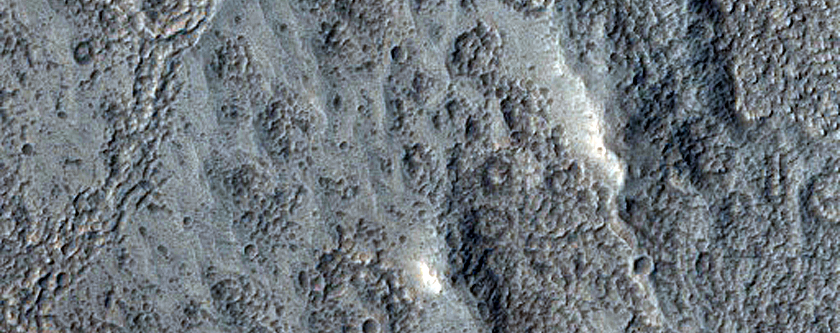 Pitted Material on Floor of Ellsley Crater in Tempe Fossae