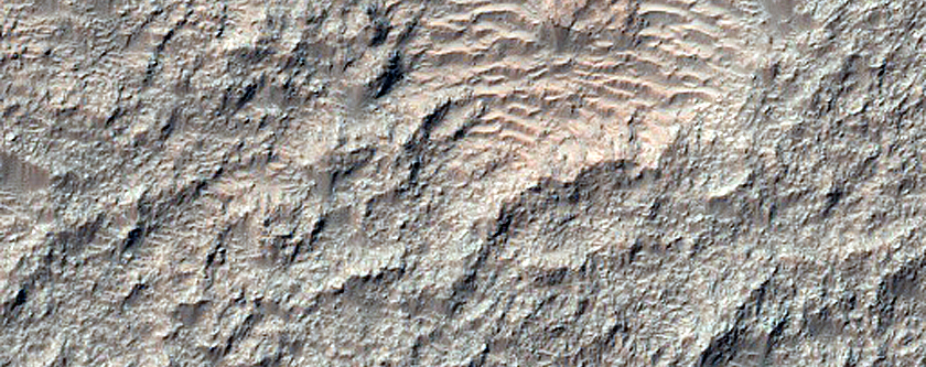 Bedrock Exposures in Center of Briault Crater