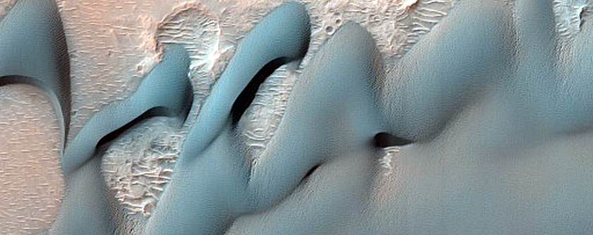 East Ganges Chasma Dunes Interaction