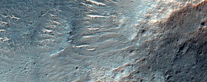 Valleys Leading into Crater in Tyrrhena Terra
