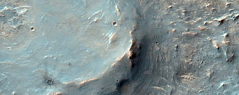 Potential Well-Exposed Crater Ejecta West of Ganges Chasma
