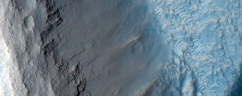 Pitted Materials and Ejecta along Rim of Crater in Acidalia Planitia