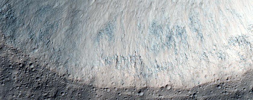 Possible Bedrock Exposure in Crater in Mare Tyrrhenum