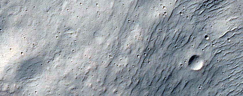 Western Discontinuous Ejecta Boundary of Resen Crater in Hesperia Planum