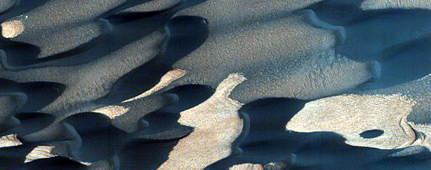North Polar Residual Ice and Defrosting Dunes