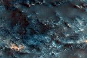Ridge and Crater Intersection in Tyrrhena Terra