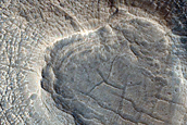 Small Crater with Layered Sedimentary Mound