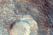 Cone-Shaped Form Cross-Cut by Trough in Lederberg Crater