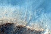Flow Over Crater Rim in Far Eastern Daedalia Planum