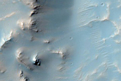 Western Rim and Ejecta of Well-Preserved Impact Crater