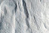 Mass Wasting Feature on Southern Wall of Crater Near Amazonis Mensa