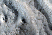 Valleys in Crater North of Sacra Sulci