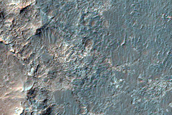 Contact between Crater Ejecta and Altered Floor in Ladon Valles Basin