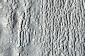 Lineated Valley Floor Material in Terrain North of Arabia Region