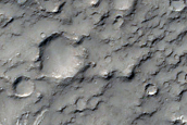 Valley Leading into Crater in Terra Sirenum