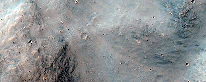Potential Exposed Bedrock on Crater Floor in Terra Cimmeria