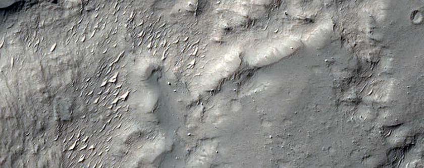 Possible Exposed Ejecta East of Crater in Noachis Terra