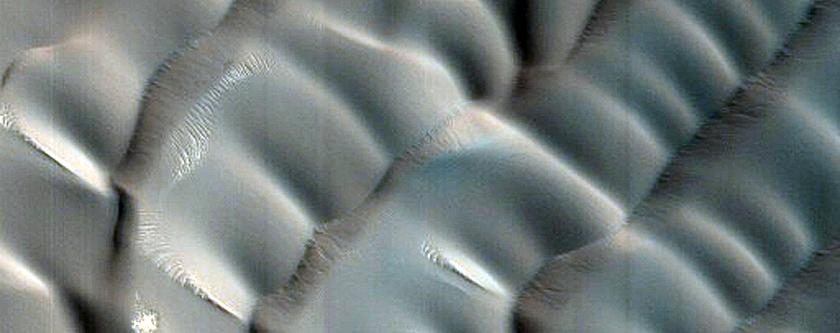 Abalos Undae Polar Crater Dunes