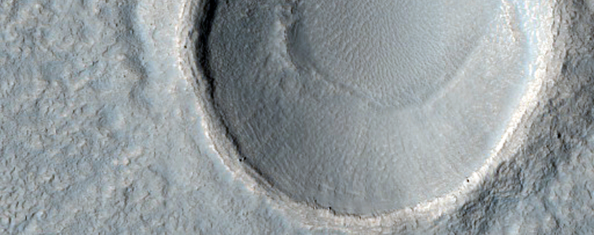 Crater with Thin Ejecta in Ismeniae Fossae