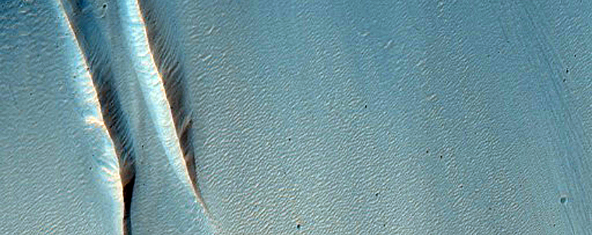 Landslide Facing North near Aeolis Mensae