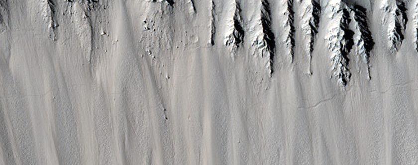 Slopes of Very Fresh 10-Kilometer Crater in Utopia Planitia