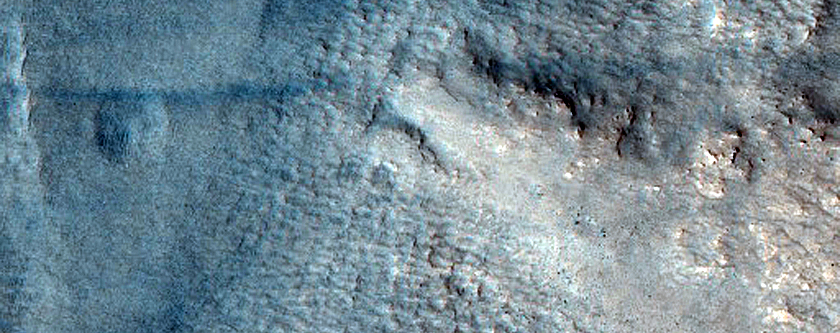 Crater within Ejecta from Lyot Crater
