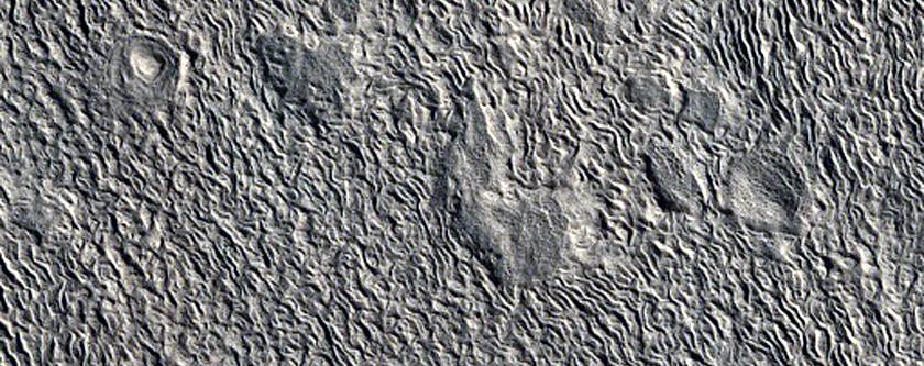 Tall Layered Mesa in Crater in Deuteronilus Mensae