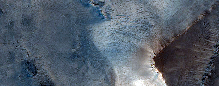 Layers in Depression South of Antoniadi Crater