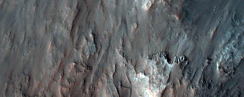 Layered Deposits within Depression in Osuga Valles