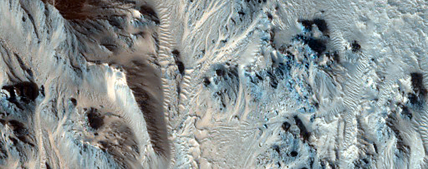 Mojave Crater Northeastern Rim with Fans and Slope Features