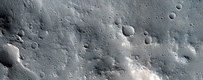 Rings in Crater Ejecta in Tempe Fossae