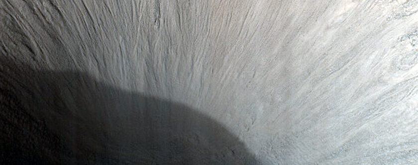Monitor Mid-Latitude Crater with Steep Slopes
