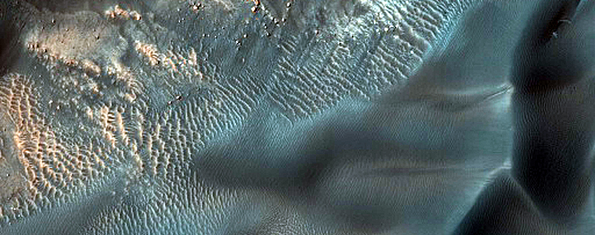 Tracking Gully and Dune Changes in Crater East of Proctor Crater