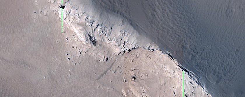 Scarp in Pavonis Mons Fan-Shaped Deposit