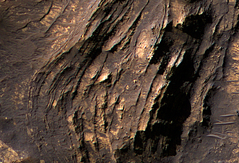 Layered Bedrock in the Central Uplift of Betio Crater