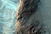 Olivine-Rich Bedrock Exposed in Crater Wall in Tyrrhena Terra