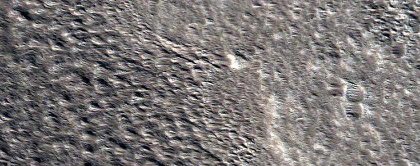 Crater in Alba Patera