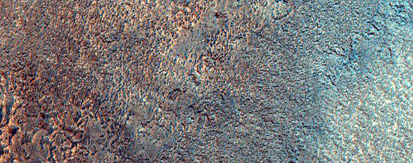 Lobate Margin in Contact with Raised-Rim Crater