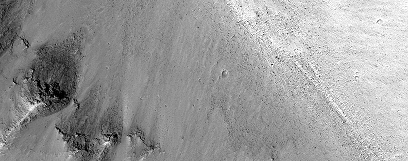 Channel in Wall of Orson Welles Crater