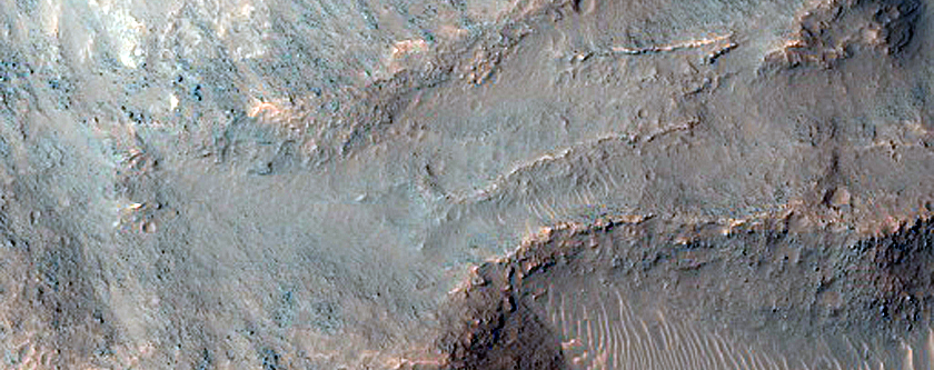 Collapsed Terrain in Osuga Valles Depression and Part of Relict Channel