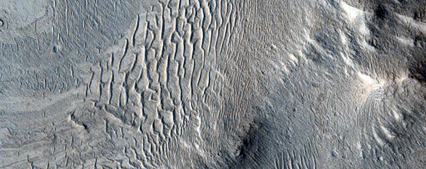 Layering in Rutherford Crater